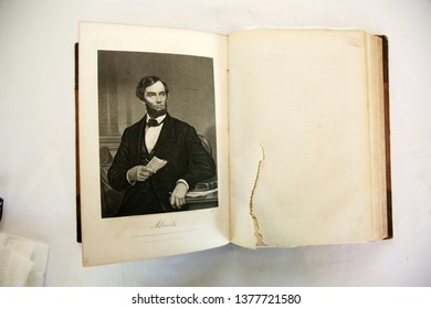4-22-2019 Lake Forest CA: Lithograph of Abraham Lincoln in a book published in 1887. Book Title History of the world.