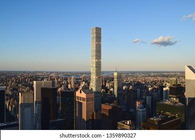 432 Park Avenue condominiums and Manhattan view. Skyscrapers in New York city.
