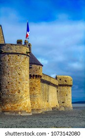 4/4/2017 - Le Mont-Saint-Michel, Normandy, France: La Tour Gabriel, Gabriel Tower fortification was built to defend Mont Saint Michel in Normandy, France.