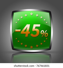 """45 percent button isolated. """"3d illustration"""""""