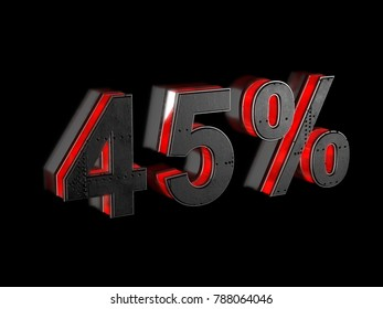 45 percent sign - black metallic extruded letter with red light outline glowing in the dark 3D render