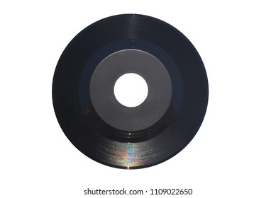 45 rpm single record with large central hole and gray label. Isolated on white background.