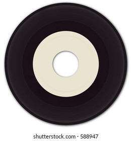 45 rpm Vinyl Record with blank label.