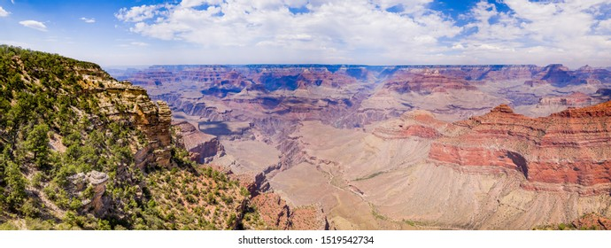 45Mpx Panorama of Grand Canyon National Park Mather Point, northwestern Arizona: Steep-sided canyon carved by Colorado River in Arizona UNESCO WHS in 1979