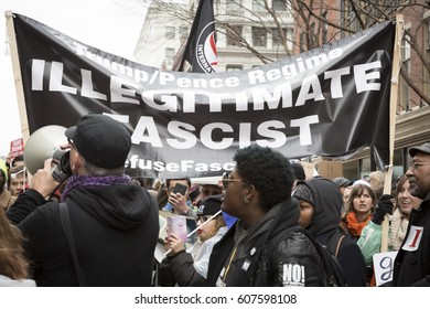 45th Presidential Inauguration, Donald Trump: Illegitimate Fascist on a sign held by a protestor outside the security checkpoint, WASHINGTON DC - JAN 20 2017