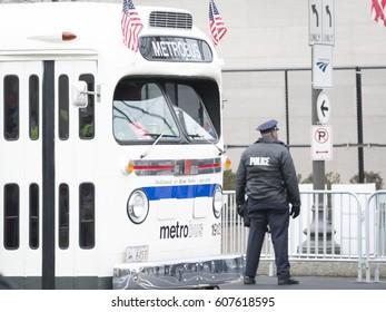 45th Presidential Inauguration, Donald Trump: Vintage Washington DC Metro Bus serves as a parade vehicle, WASHINGTON DC - JAN 20 2017