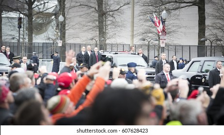45th Presidential Inauguration, Donald Trump: Secret Service agents of the Presidential Motorcade on Pennsylvania Ave, NW , WASHINGTON DC - JAN 20 2017