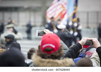 45th Presidential Inauguration, Donald Trump: People take pictures with cellphones of the Presidential Parade on Pennsylvania Ave, NW, WASHINGTON DC - JAN 20 2017