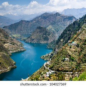 46 kms long tehri lake filling up after the construction of the New Tehri hydro electric project Dam on the river ganga in tehri garhwal chamba