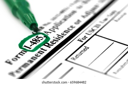 I 485 application application form with green sign pen