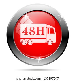 48h truck icon with white on red background