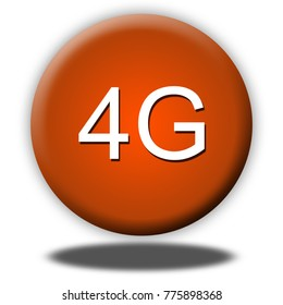 4g button isolated, 3d illustration