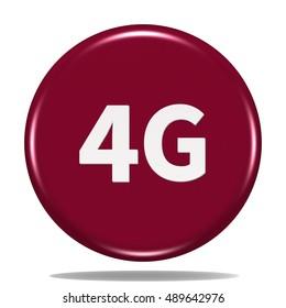 4G icon. Internet button.3d illustration