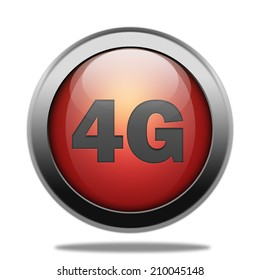 4G icon. Shiny glossy red internet button on white background.