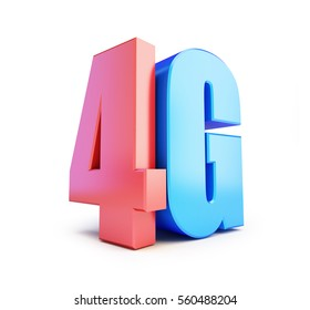 4G sign, 4G cellular high speed data wireless connection. 3d Illustrations on white background