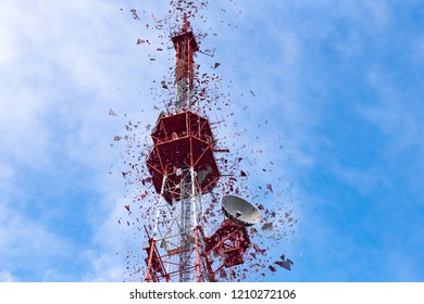 4G TV radio tower with parabolic antenna and satellite dish. Broadcast network signal. High coverage area. Destroy concept.