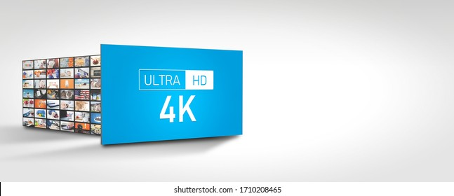 4K high resolution television. TV multimedia panel. Web banner image with copy space
