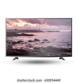 4K modern TV monitor screen isolated on white