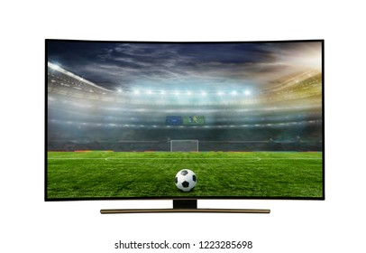 4k monitor isolated on white.  4k monitor watching smart tv translation of football game., with incredibly beautiful colors of the image.