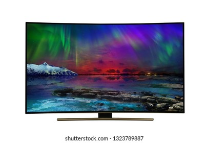 4k monitor isolated on white. tv with the nature view. USA State of Arizona.