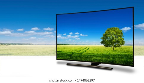 4k monitor isolated on white. Isometric view. 4k monitor isolated on white. tv with the nature view