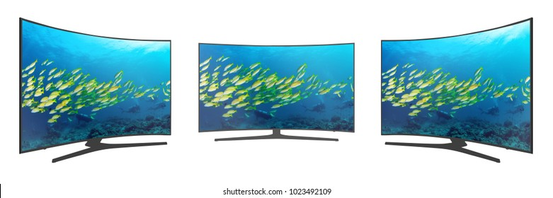 4k monitor UHD curved TV isolated on white