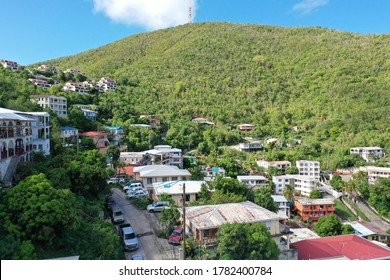 4k Mountain town landscape of St.Thomas, US Virgin Islands