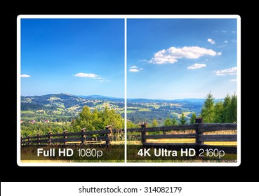 4K television display with comparison of resolutions. Ultra HD on modern TV.
