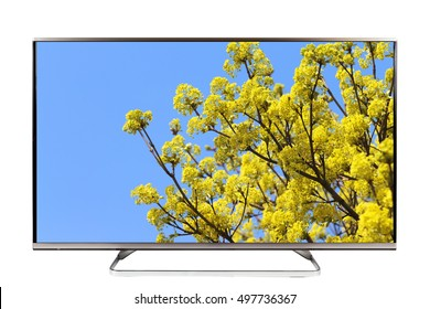 4K TV - UHD TV on white background
