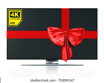 4K Ultra HD TV wrapped with red ribbon. 3D illustration.