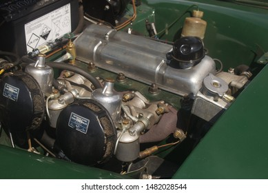 4th August 2019- The engine, with twin SU carburetors, in a 1973 MG Midget sports car being displayed at a vintage vehicle show in Burry Port, Carmarthenshire, Wales, UK.