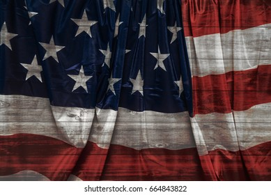 4th four july. USA flag for Independence Day,  The Stars and Stripes flag,  Old Glory flag, USA Star Spangled Banner flag on wooden background