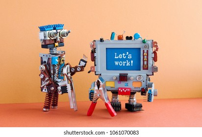 4th industrial revolution robotic auomation concept. Two handyman robots characters, brown wall red floor background. Creative design mechanic toys with pliers, message Let's work on blue screen.