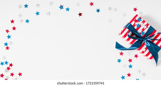4th of July American Independence Day. Happy Independence Day, decorations on white background. Flat lay, top view, copy space