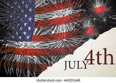 4th of July, American Independence Day celebration background with American flag on fireworks.