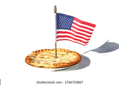 4th of July Apple Pie with an American Flag. Independence Day Celebration Pie with a American Flag. Isolated on white. Room for text.