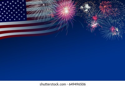 4th July background of US flag and fireworks in twilight time