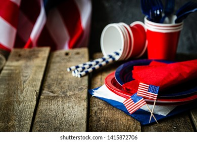 4th of July concept - party decoration of wood background, copy space