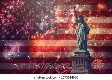 4th of July concept with Statue of Liberty and fireworks