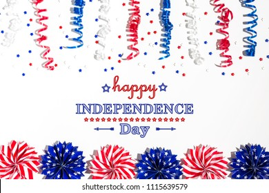 4th of July decorations on a white background flat lay