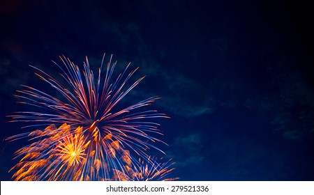 4th July fireworks. Fireworks display on dark sky background.