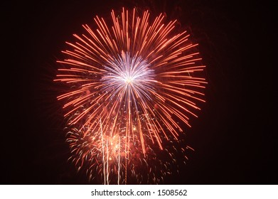 4th of July fireworks display over Red Bank New Jersey, USA