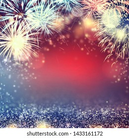 4th July fireworks with glitter sparkle Abstract background