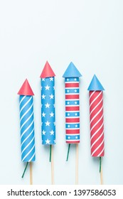 4th of July fireworks USA flag style rockets. Firecracker rockets 4 july United States Independence Day banner.