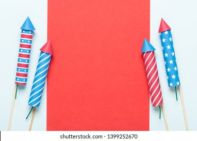 4th of July fireworks USA flag color rockets. Firecrackers United States Independence Day banner with blank copy space.