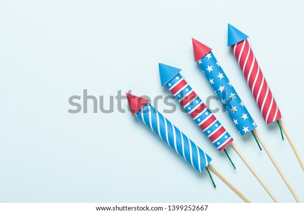 4th of July fireworks USA flag style rockets. Firecracker rockets United States Independence Day banner.