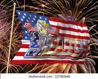 4th July graphic and Bald Eagle on flying Stars and Stripes flag, fireworks background.