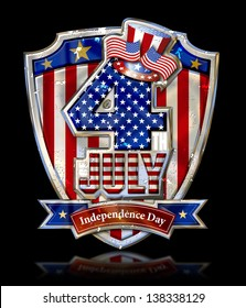 4th July Graphic on Shield with Uncle Sam�s Top Hat with grunge and clipping path, black ground.