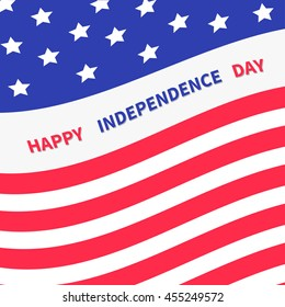 4th of July. Happy independence day United states of America. Waving American flag frame. Greeting card. Flat design.