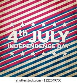 4th July Independence day background design. National day USA holiday banner poster greeting card. Stars and stripes american flag vector illustration.